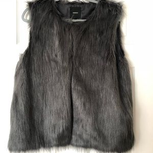 Gray synthetic fur vest
